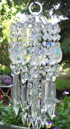 Most Romantic Jeweled Vintage Crystal Wind Chime by sheriscrystals