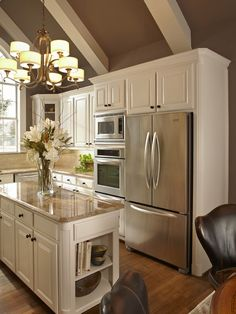 wall colors, beam, light, painted ceilings, white cabinets, dream kitchens, island, stainless steel, white kitchens