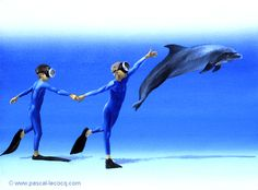 "OLYMPIC GAMES 2012, Aug 11th: Athletics Men's 4x100m relay  pic: ""CO ET DIC 2""  _ Co and Dic 2 - oil on canvas by Pascal Lecocq, The Painter of Blue ®,  9 1/2""x13"" 24 x 33 cm, 2003, lec637, priv.coll.Marseille, France. ©www.pascal-lecocq.com."