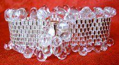 Free Seed Bead Bracelet Patterns:Crystal Ruffle Cuff