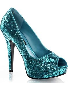 Turquoise Glitter Peep Toe Womens Shoes #Casino