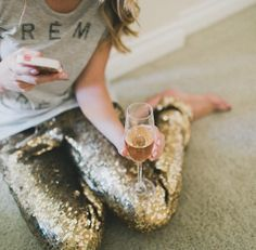 Casual NYE with friends - Holiday glitter champagne fashion, cloth, style, outfit, sequins, wine fashion, sequin pant, closet, gold pants