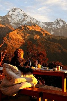tea, comfy blanket, mountain view...