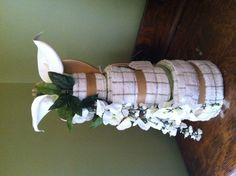 Just made this kitchen towel cake for a wedding .. Kinda proud