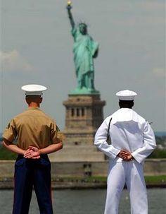 Fleet week, NYC. Every spring, thousands of sailors meet from around the world. A fun sight.