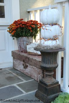#Fall Porch filled with great ideas like this pumpkin topiary eclecticallyvintage.com