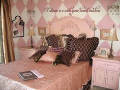 So pretty! wall art, design dazzl, idea, dream, new room, pale pink, accent walls, painted walls, girl rooms