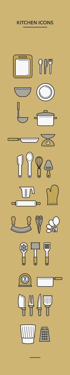 Kitchen Icons by Aletza Sa, via Behance