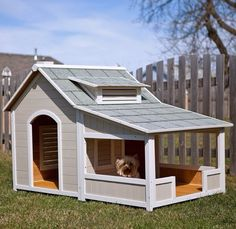 $449.99 Savannah Dog House: Porch Provides Shelter from Outdoor Elements Rot and Pest Resistant Solid Fir Wood Construction Sealed with Weather-Resistant Coating Raised Floor Keeps Pets Dry Waterproof Leg Protectors Adjustable Feet for Uneven Surfaces Asphalt Shingle Roof Two Windows Allow for Maximum Ventilation.