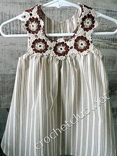 Платьице из рубашки. Вязание и ткань
