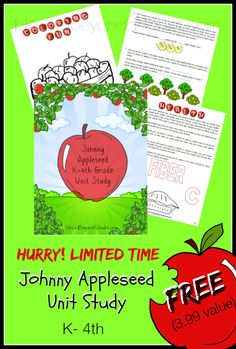 FREE Who is Johnny Appleseed Unit Study for K-4th! So cute!
