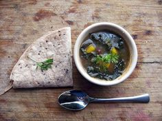 Black beans, Kale, and other veggies, in a deliciously, fresh tomatillo sauce, served with whole wheat flax tortillas.