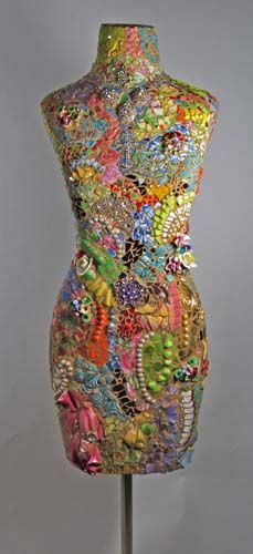 Lady's dress form, with antique china shards, tons of vintage jewels and beads, and other found things.