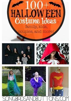 Over 100+ Halloween Costume Ideas for Families, Couples, Adults, and kids! There is even an accessory list! This is your ULTIMATE Halloween Costume Inspiration Round-Up!