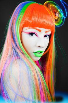 colorful, green lips, orange hair, neon, hairstyle