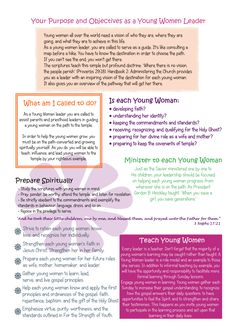 Purpose of YW presidency - made this for me and my counsellors for our YW folders :) All info is from lds.org.