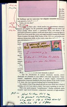"""Bound copy of """"Corrections of Typos/Errors for Paperback Printing of Infinite Jest"""" from David Foster Wallace to Nona Krug and Michael Pietsch. On page 30, Wallace corrects the age of one of the characters in the book."""