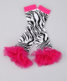 Pink Zebra Ruffle Leg Warmers by The Princess and the Prince on #zulily!