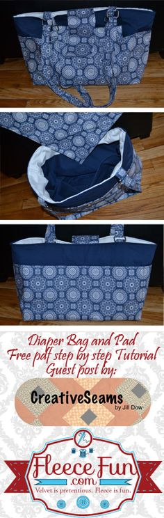 Free Diaper Bag Tutorial  http://www.fleecefun.com/free-diaper-bag-tutorial.html