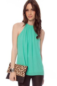 Knot Your Average Tank Top in Emerald $26 at www.tobi.com