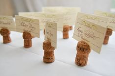 DIY champagne cork place card holders