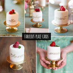 Yum - cakes as placecards? Count us in!