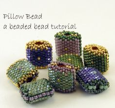 Beaded Bead Pattern - Peyote Stitch Pillow Bead - pdf tutorial with photos and instructions. $9.00, via Etsy.