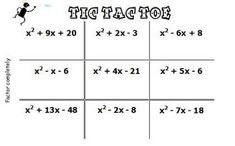 Tic Tac Toe game to review factoring