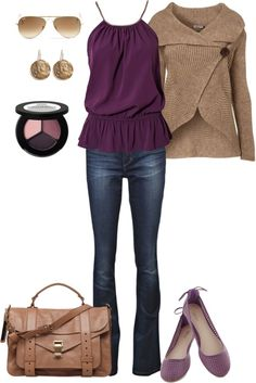 """""""Beige and Plum"""" by fun-to-wear on Polyvore"""