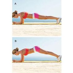 4 moves for toned abs  (Two or three times a week, do one set of 20 reps of each move in order without resting then repeat the entire routine)