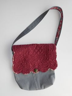 Upcycled Grey Cargo Pants Purse with Maroon Flap from a placemat.