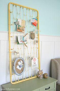 Crib mattress turned bulletin board craft room storage LollyJane