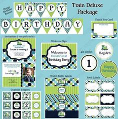 Train Deluxe Printable Collection teal lime navy blue