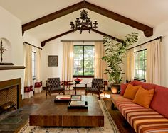 mediterranean living room with retro flair...love it