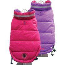 FouFou Dog Fou Ski Parka Dog Coat, Fuchsia/Purple, 3X-Large