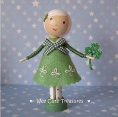 St Patrick's peg doll by Wee Cute Treasure