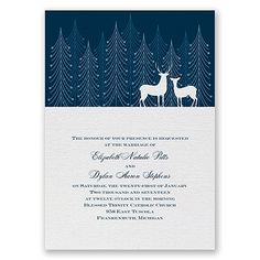 The beauty and nature is evident on this spectacular seasonal wedding invitation. A dramatic nature scene of deer silhouettes and evergreen trees introduces guests to your exceptional wedding theme. #davidsbridal #weddinginvitations #winter #winterweddings