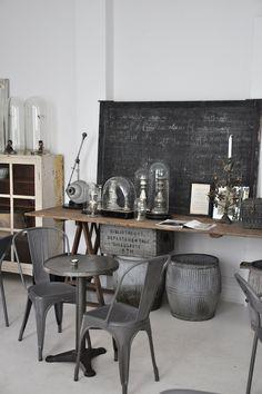 interior design, chair, hom, glass domes, blackboard, rustic style, modern industrial, grey, industrial style