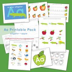 appl theme, homeschooling, abc, letter, printabl pack, apples, alphabet, alligators, aa printabl