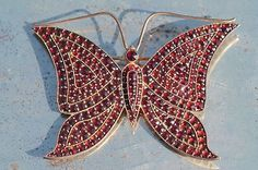 Big Vintage Gold Washed 925 Sterling Silver Bohemian Garnet Butterfly Pin Brooch