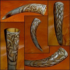 Carved and burned drinking horn with runes