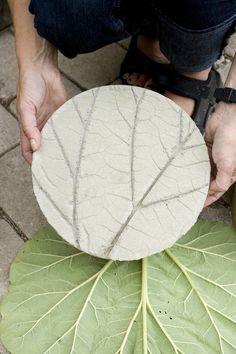 leaf-printed stepping stone