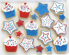 patriotic cupcake and star cookies