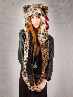 What's Your Spirit Animal?....... LEOPARD (Faux Fur) ...................... Traits: Intelligent > Free > Leader ... Find out more about the #Leopard #Spirit #Animal at: www.spirithoods.com/adults/womens/leopard/706/# $119 #Gifts #Fashion #SpiritHood #SpiritHoods #Women #Hoodie #FauxFur #Paws #Scarf