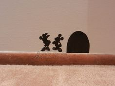 Add these images to any wall in your house!  Minnie and Mickey Mouse are cut from Square 1 Masterpiece adhesive backed material.  It will not damage the wall surface and can easily be removed if you want to place it on a different wall.    Each image measures approximately 2 1/2 inches tall.  Set...