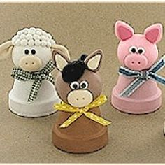 Clay Pot Farm Animals Craft.  These clay pot farm animals from Polyform make great craft ideas for clay pots! See how on FreeKidsCrafts.com
