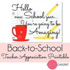 Back to School teacher appreciation 8x10, 5x7 and gift tags | free printable at I Gotta Create