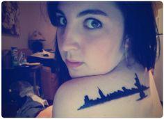 NYC Skyline Solid Shoulder Tattoo