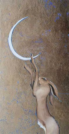 Pulling down the moon, by Jackie Morris -- Watercolour and moongold gold leaf