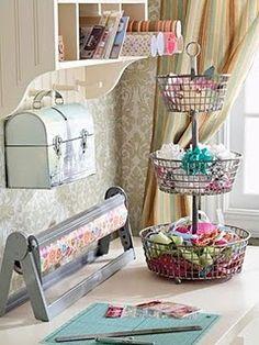 Such pretty storage - blogger has lots of organizing ideas